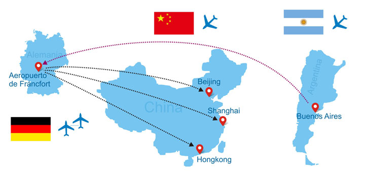 vuelos desde Argentina a China