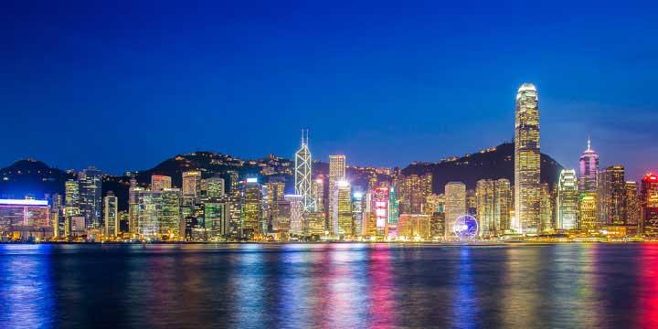 Vista de noche de Hong Kong