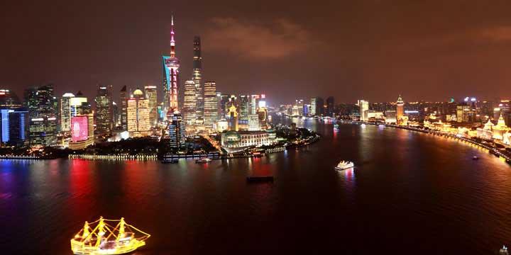 Vista de noche de Shanghai
