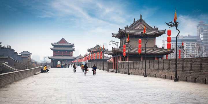 La muralla antigua de la ciudad de xi'an
