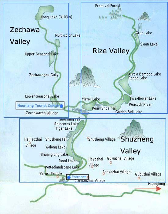 Mapa del Valle de Jiuzhaigou