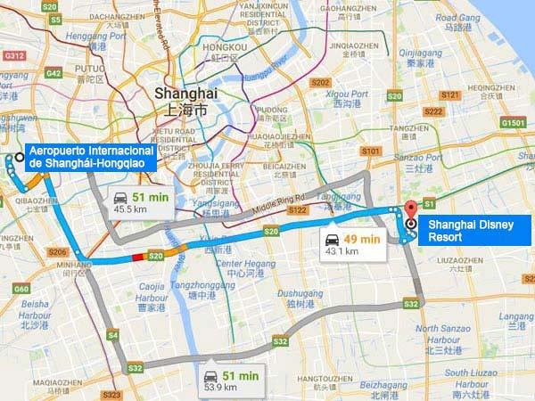 desde hongqiao hasta disney