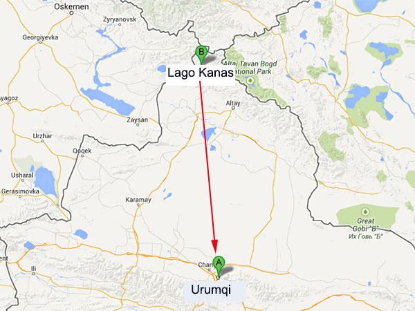 mapa de urumqi a lago kanas