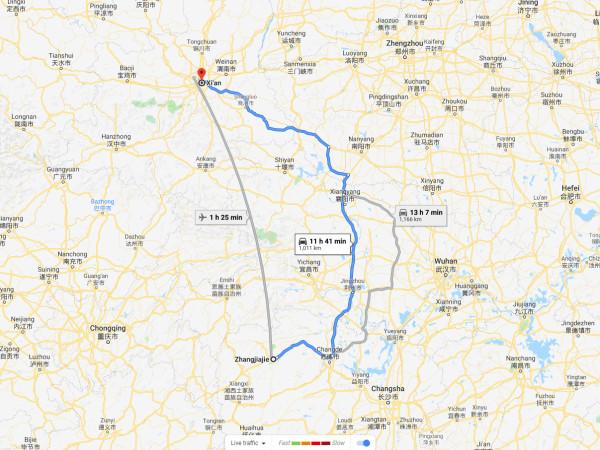 transporte de xian a zhangjiajie